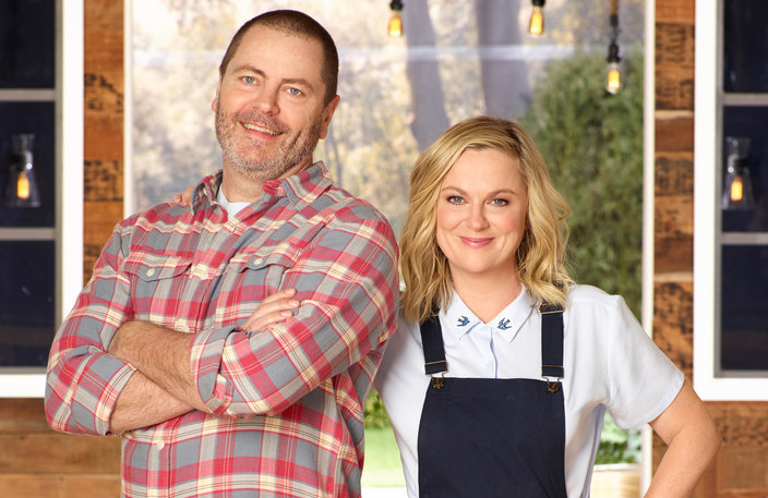 Nick Offerman and Amy Poehler in a promiotional photo for Making It Season 2. (Chris Haston/NBC)