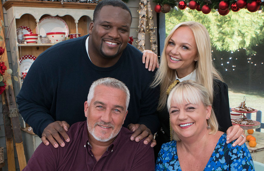 """Clockwise from top: Anthony """"Spice"""" Adams, Emma Bunting, Sherry Yard, and Paul Hollywood in The Great American Baking Show: Holiday Edition. (ABC)"""