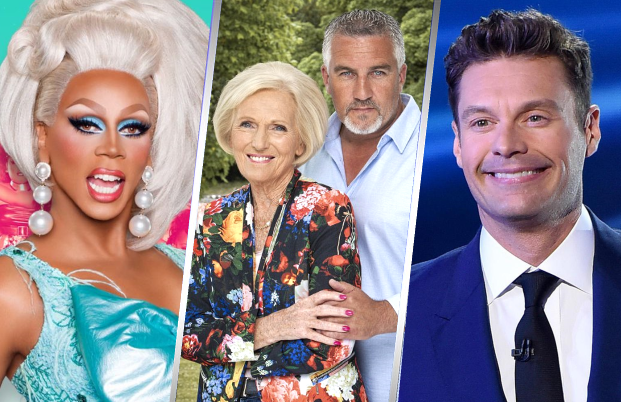 RuPaul's Drag Race, The Great British Baking Show and American Idol all made the list. (Photos: Logo, BBC, FOX).