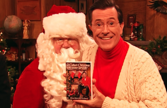 Stephen Colbert enlists Santa (George Wendt) in promoting the DVD of his special, A Colbert Christmas: The Greatest Gift of All!. (Comedy Central)