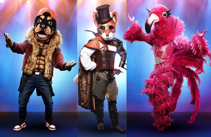 Rottweiler, Fox and Flamingo are the three finalists this season on The Masked Singer. (Fox)