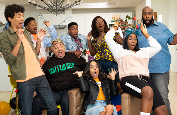 The cast of Netflix's Astronomy Club, from left: Jonathan Braylock, James III, Shawtane Bowen, Jerah Milligan, Caroline Martin, Keisha Zollar, Monique Moses and Raymond Cordova. (Photo: Lara Solanki/Netflix)