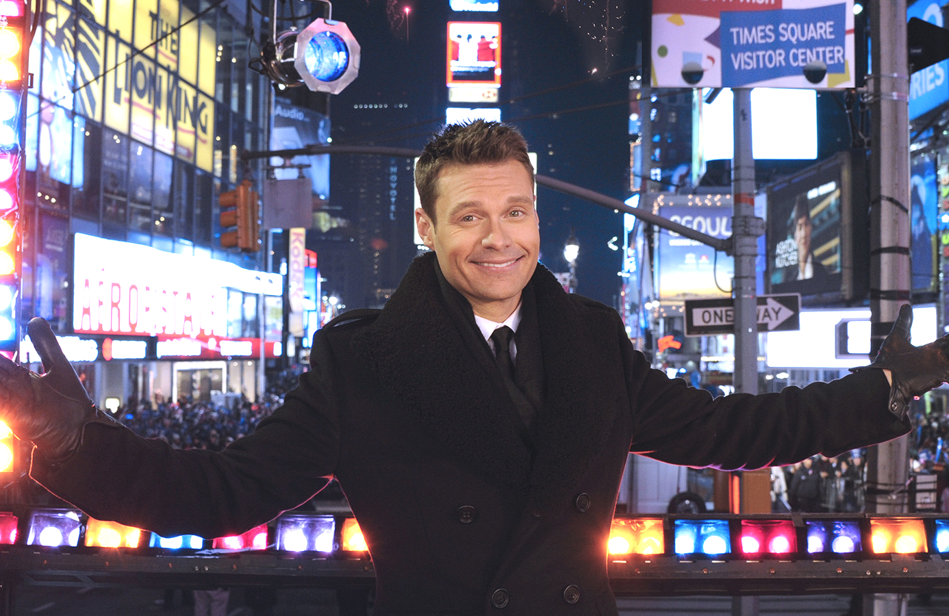 Ryan Seacrest hits Times Square for this year's edition of Dick Clark's New Year's Rockin' Eve With Ryan Seacrest (Photo: ABC)