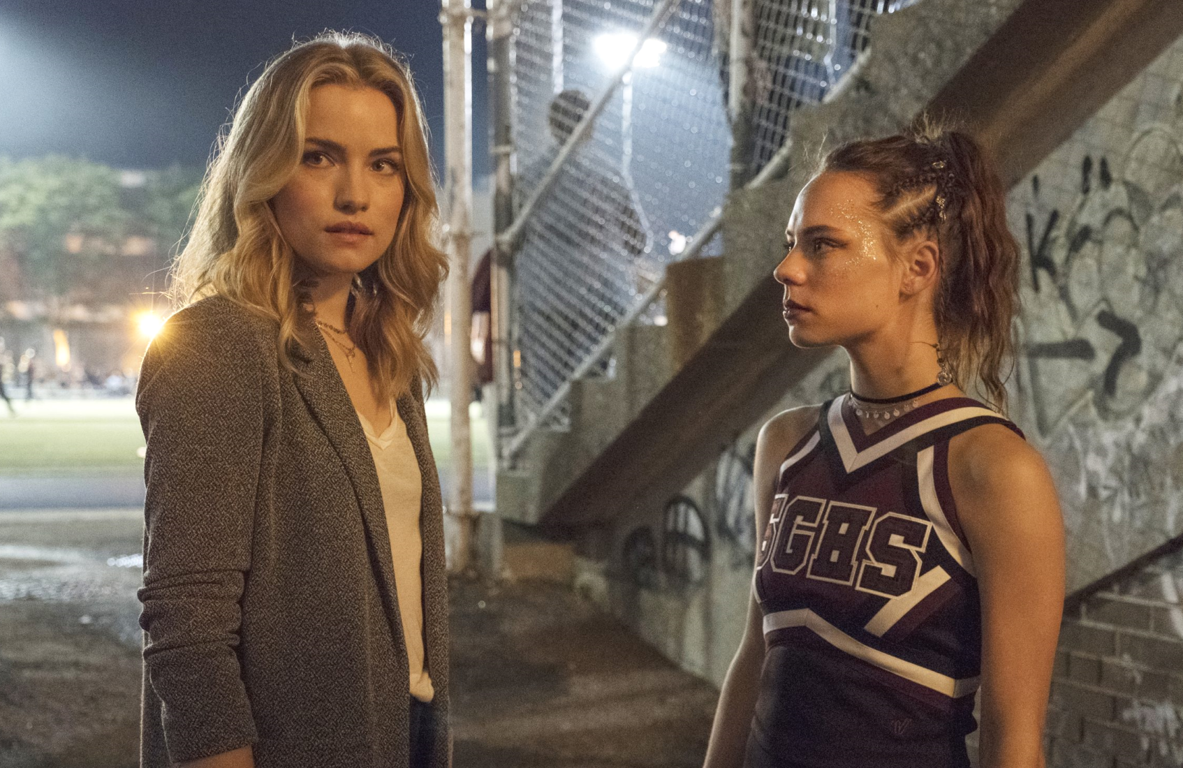 Willa Fitzgerald and Marlo Kelly in an image from Sunday's premiere of Dare Me. (Photo: Rafy/USA Network)
