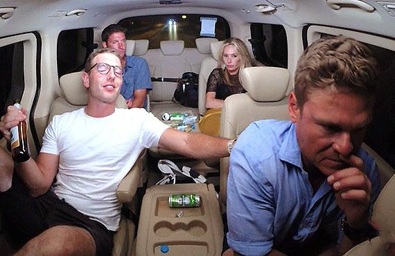 Kevin Dobson, Tanner Sterback, Kate Chastain, and Ashton Pienaar in Below Deck. (Bravo)