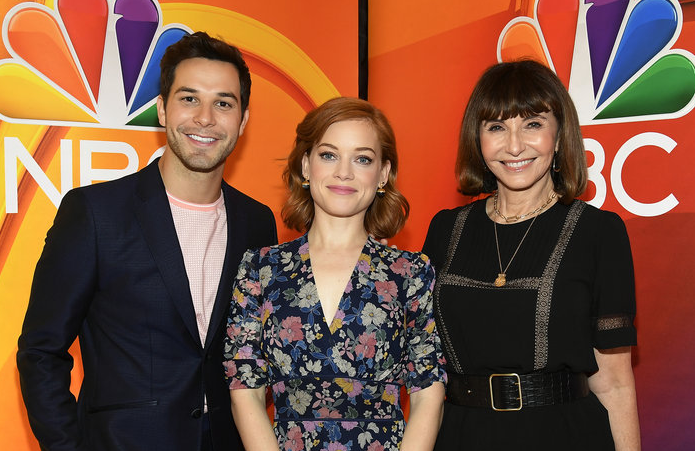 Skylar Astin, Jane Levy and Mary Steenburgen at an upfront event in May 2019. (Photo:Mike Coppola/NBCUniversal)