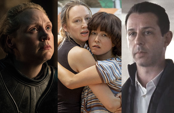 Gwendoline Christie in GoT (HBO), Anna Konkle and Maya Erskine in PEN15 (Hulu), and Jeremy Strong in Succession (HBO)