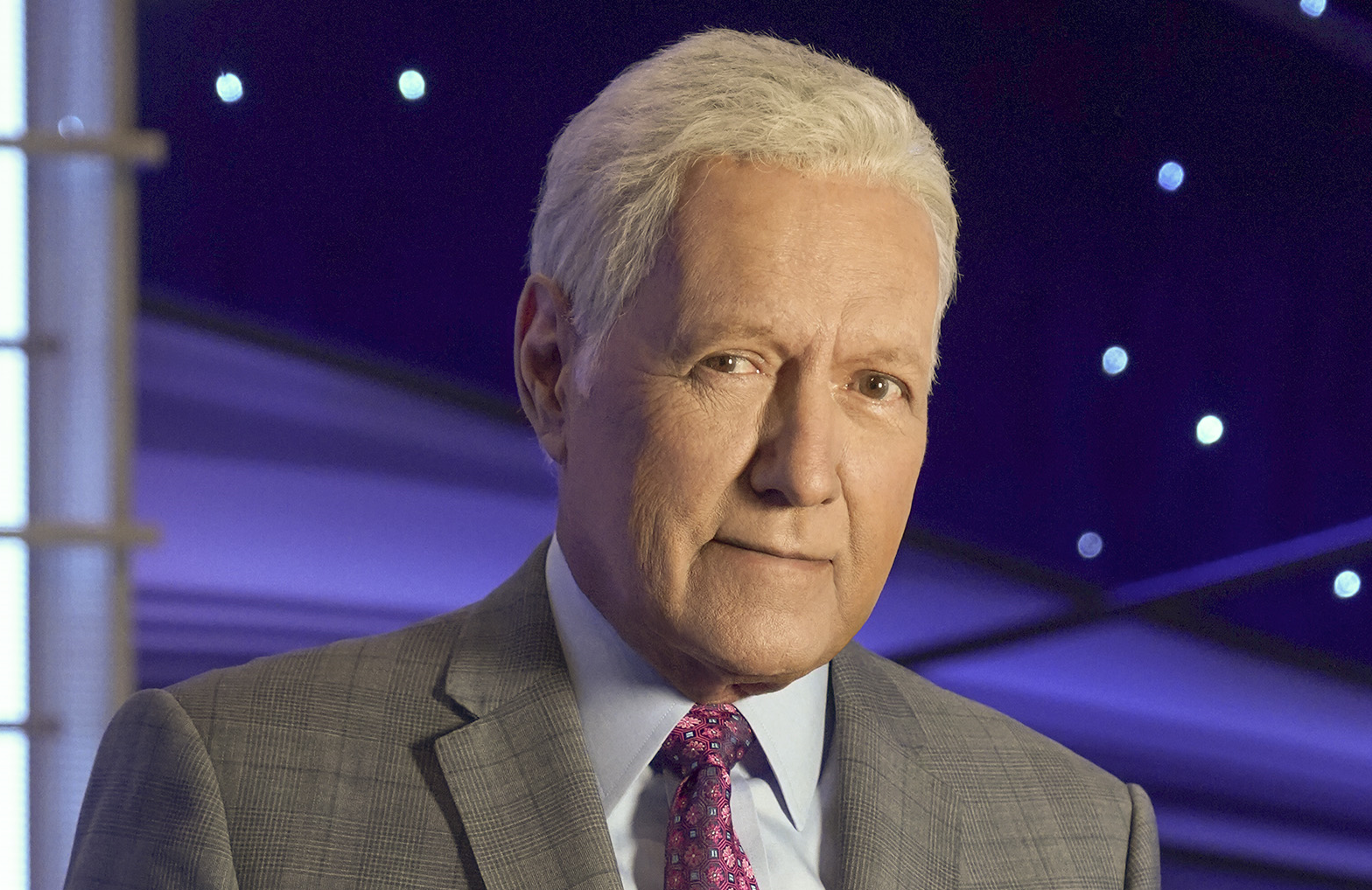 Jeopardy! fans will know this is a recent picture of Alex Trebek — he shaved off his signature mustache in 2018 at the request of his wife. (ABC/Eric McCandless)