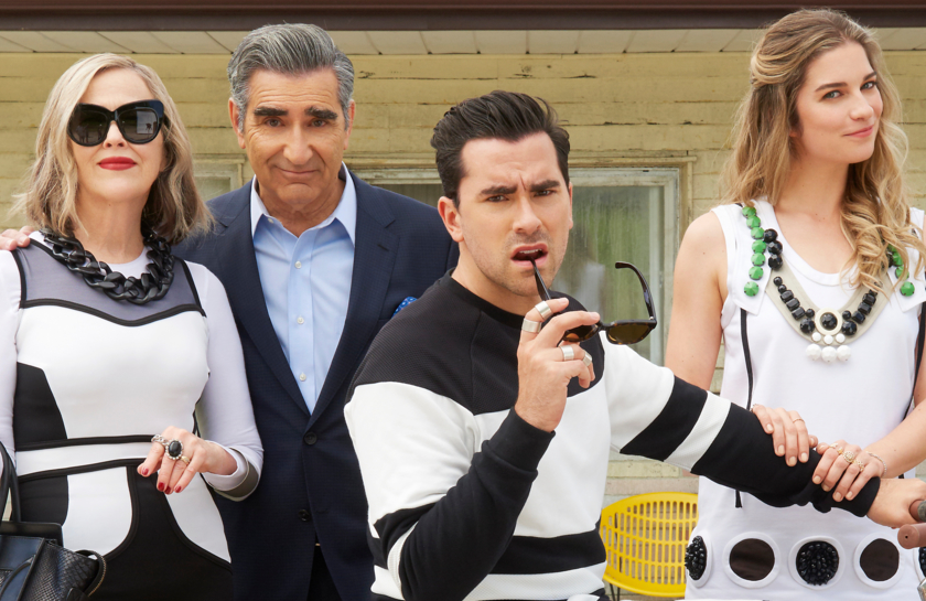 Catherine O'Hara, Eugene Levy, Dan Levy and Annie Murphy in Schitt's Creek. (CBC/Pop)