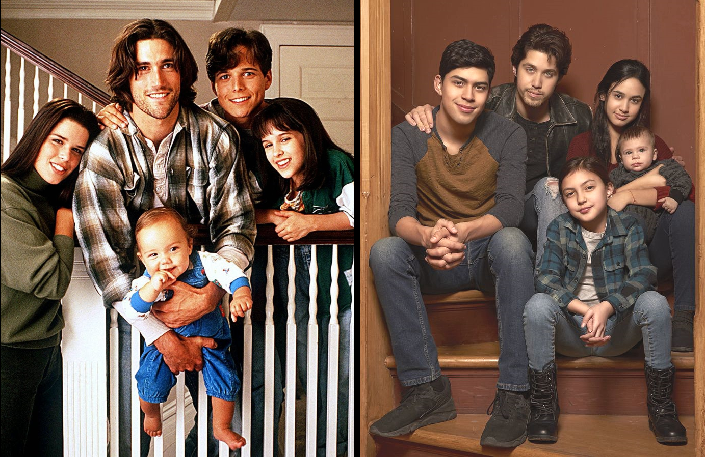 Then and now. The requisite family photo on the stairs.(FOX/Freeform)