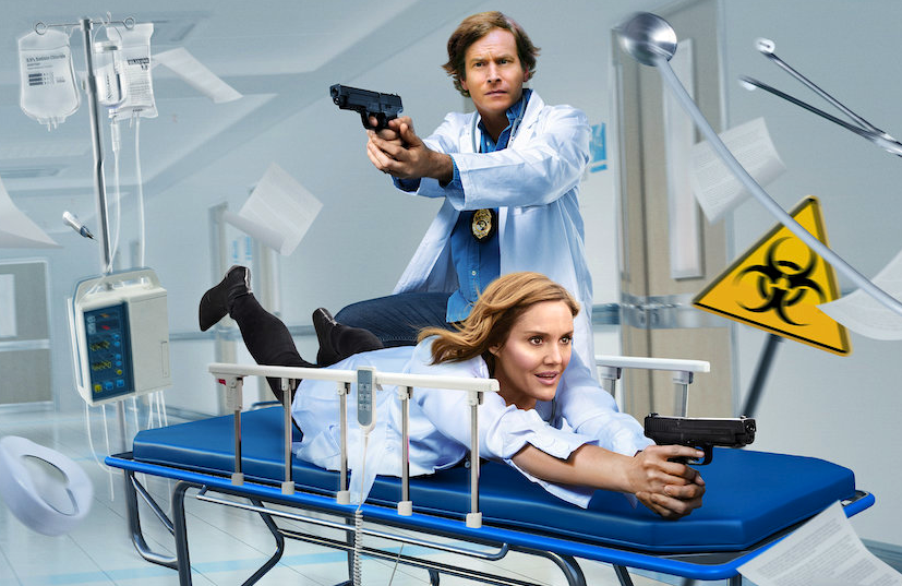 Rob Huebel and Erinn Hayes star in Medical Police. (Netflix)