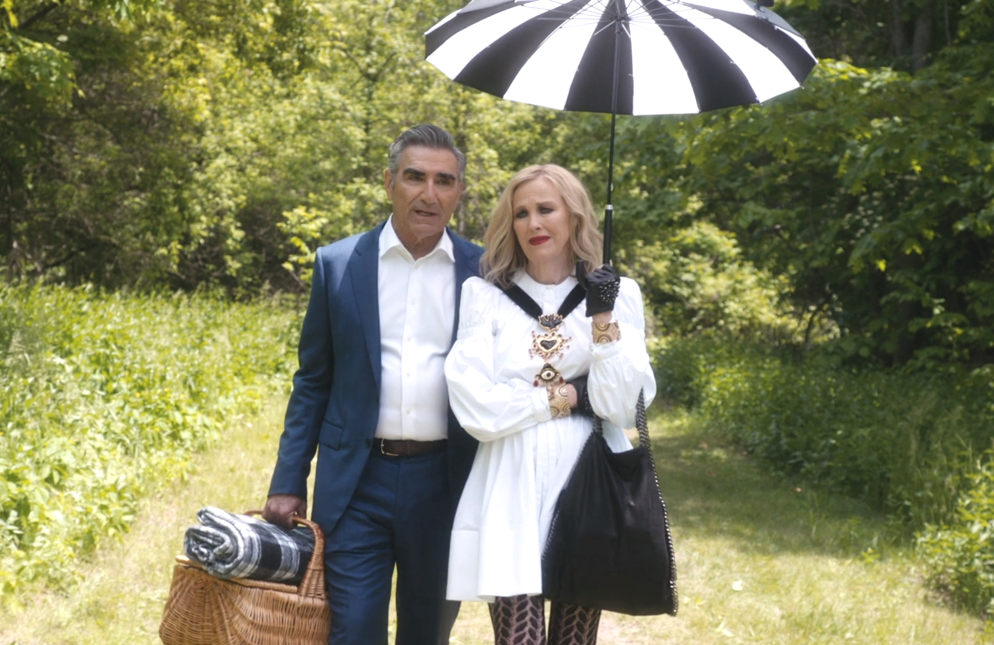 Eugene Levy and Catherine O'Hara in an image from this week's Schitt's Creek season premiere. (Pop/CBC)