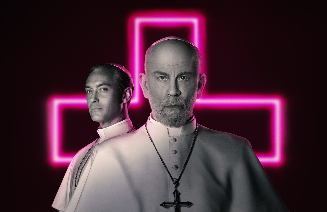 Jude Law and John Malkovich star in The New Pope. (HBO)
