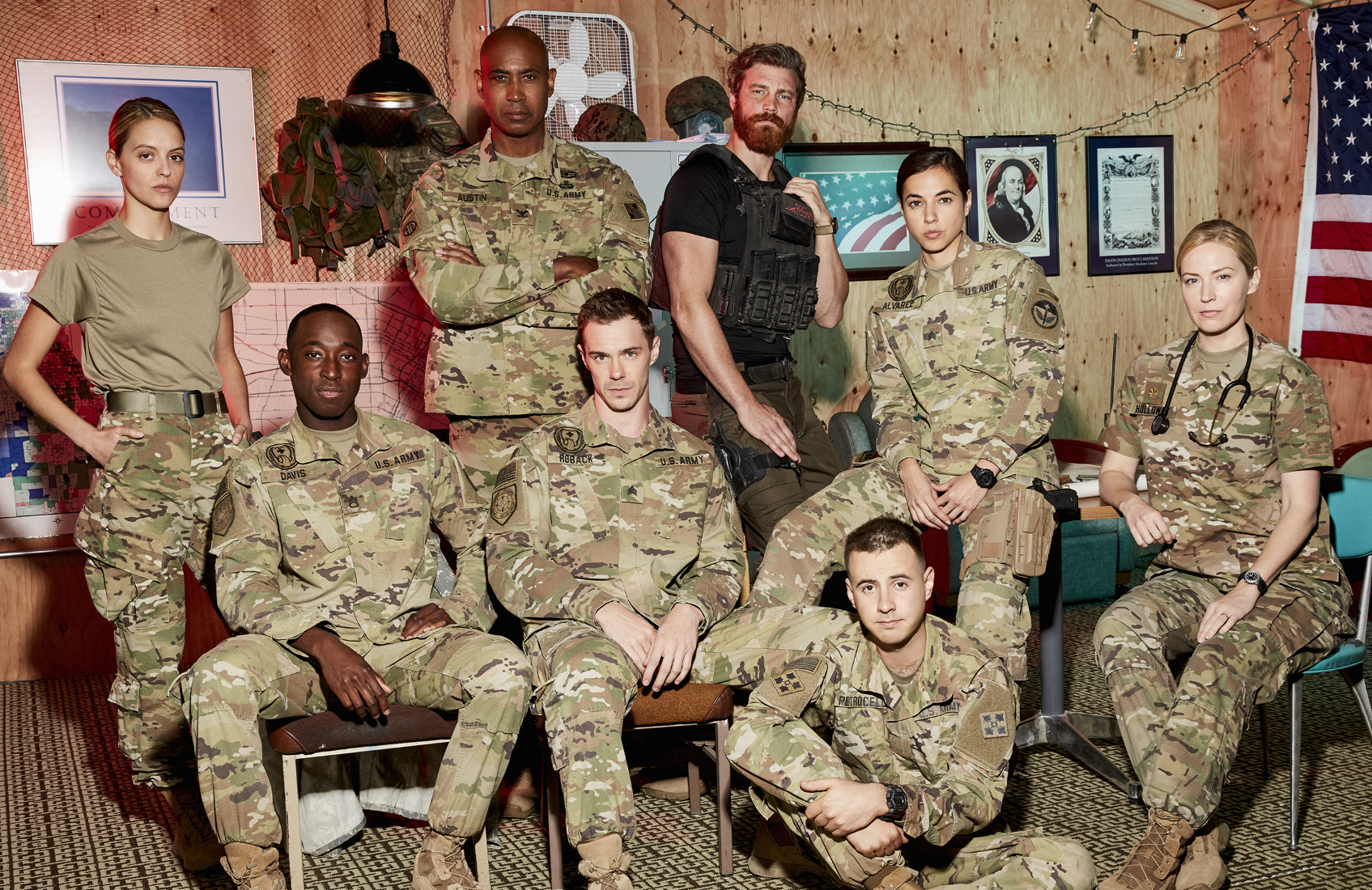 A large diverse cast adds to 68 Whiskey's appeal. From left, Gage Golightly, Jeremy Tardy, Lamont Thompson, Sam Keeley, Derek Theler, Cristina Rodlo, Nicholas Coombe and Beth Riesgraf. (Paramount Network)