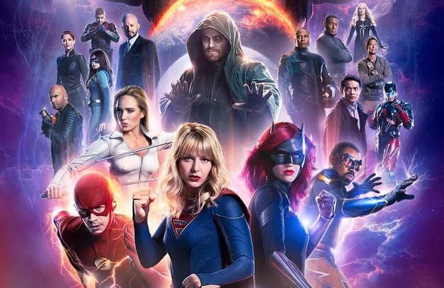 A promotional image for the Arrowverse crossover, Crisis on Infinite Earths (The CW)