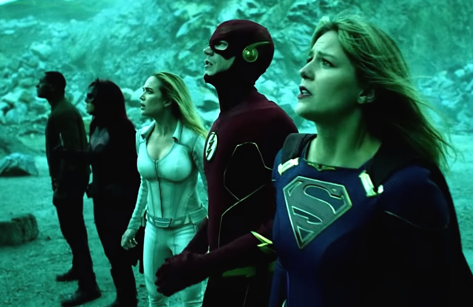 Can't believe your eyes? Neither can we. An image from the Arrowverse crossover Crisis on Infinite Earths. (The CW)