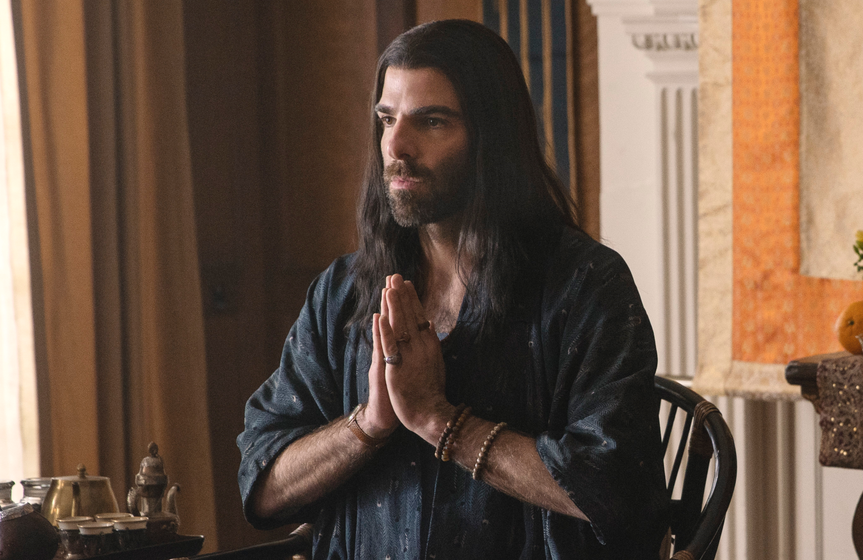 Zachary Quinto plays a yoga master in episode four of Apple TV's new anthology series Little America.