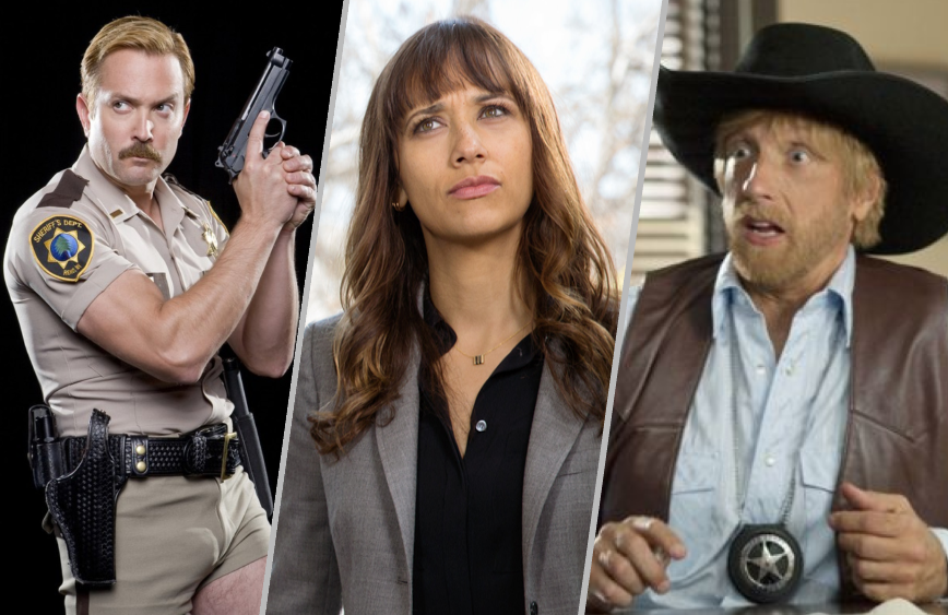 Thomas Lennon, Rashida Jones and Chris Elliott are three of our very favorite mock cops. (Photos: Comedy Central, TBS and Adult Swim)
