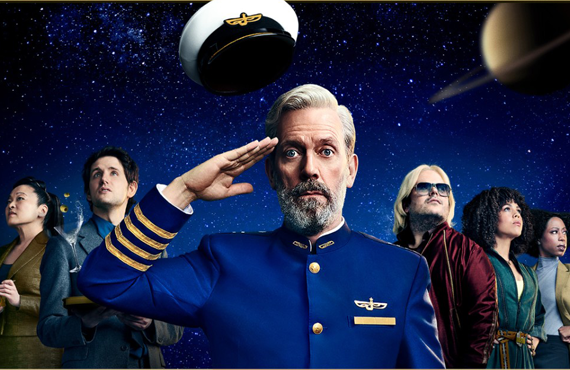 Hugh Laurie and the cast of Avenue 5 strike a pose for the show's poster. (HBO)