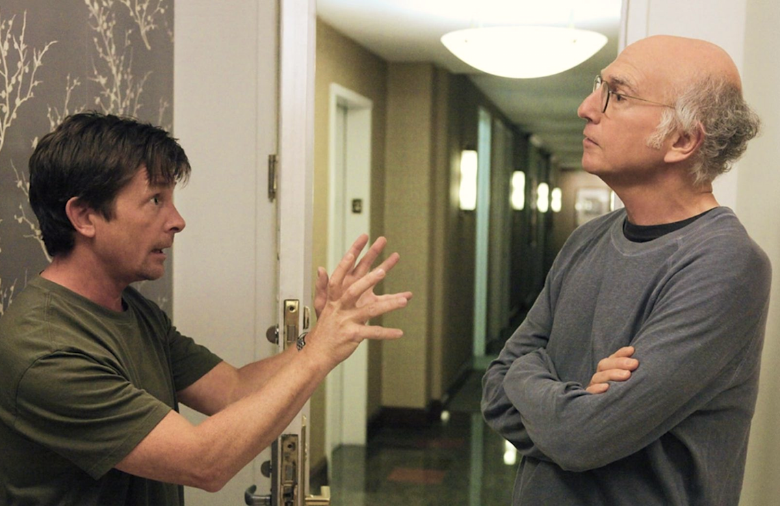 Michael J. Fox and Larry David in Curb Your Enthusiasm. (HBO)