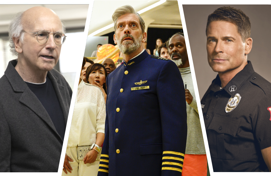 Larry David, Hugh Laurie and Rob Lowe are all back on the small screen this weekend. (Photos: HBO/FOX)