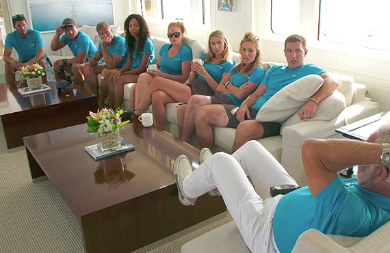 Tanner Sterback, Ashton Pienaar, Brian de Saint Pern, Simone Mashile, Rhylee Gerber, Courtney Skippon, Kate Chastain, Kevin Dobson, and Lee Rosbach in Below Deck. (Bravo)