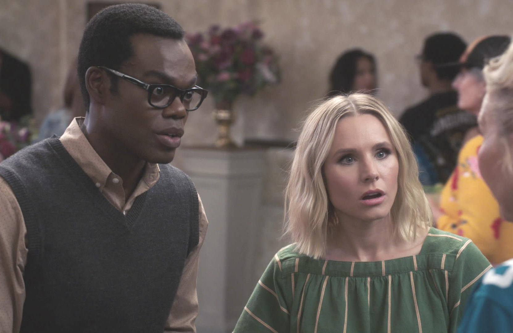 William Jackson Harper and Kristen Bell in The Good Place. (NBC)