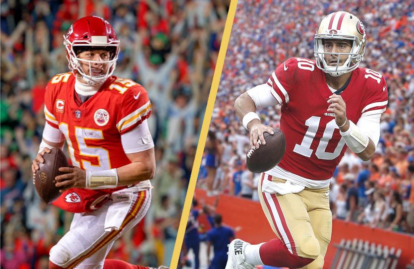 Patrick Mahomes and the Kansas City Chiefs square off against Jimmy Garoppolo and the San Francisco 49ers Sunday night at Super Bowl LIV.