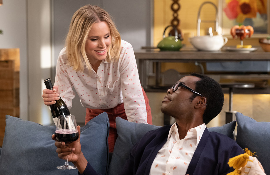 "Kristen Bell and William Jackson Harper in image from ""Whenever You're Ready,"" the series finale of The Good Place. (Photo: Colleen Hayes/NBC)"
