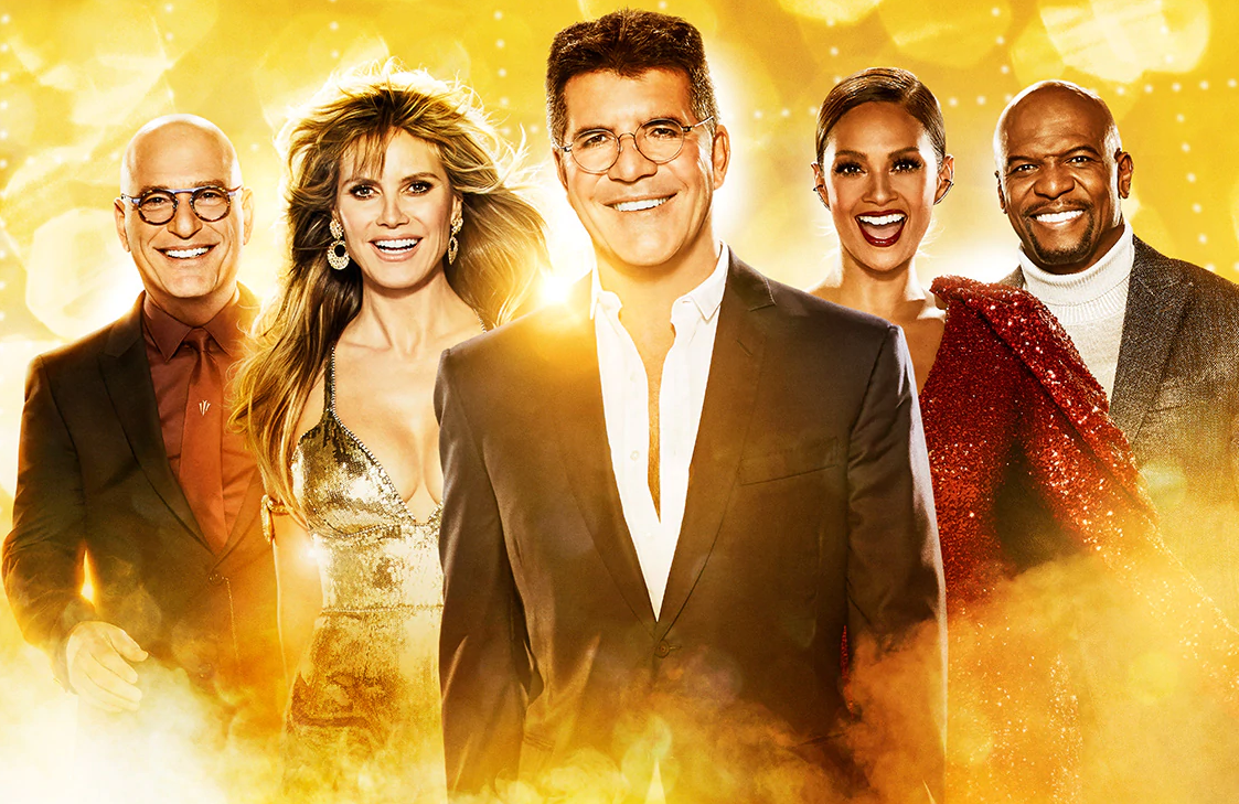 Howie Mandel, Heidi Klum, Simon Cowell, Alesha Dixon and Terry Crews in America's Got Talent: The Champions. (NBC)
