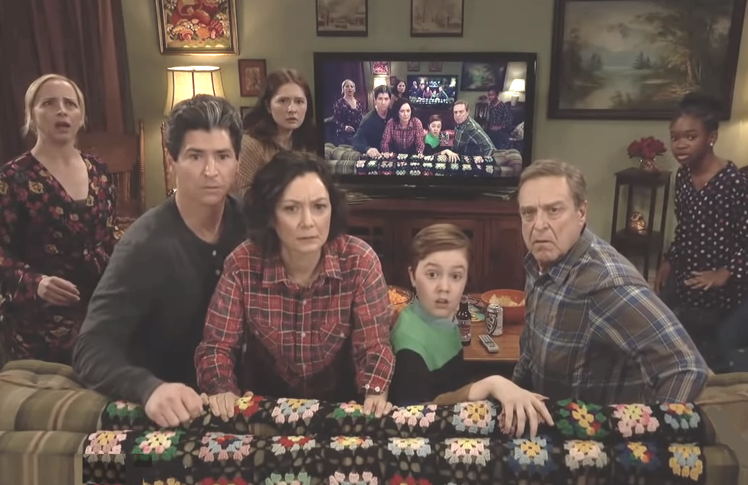 The cast of The Conners appeared in a live promo during Sunday Night's Oscars. (ABC)