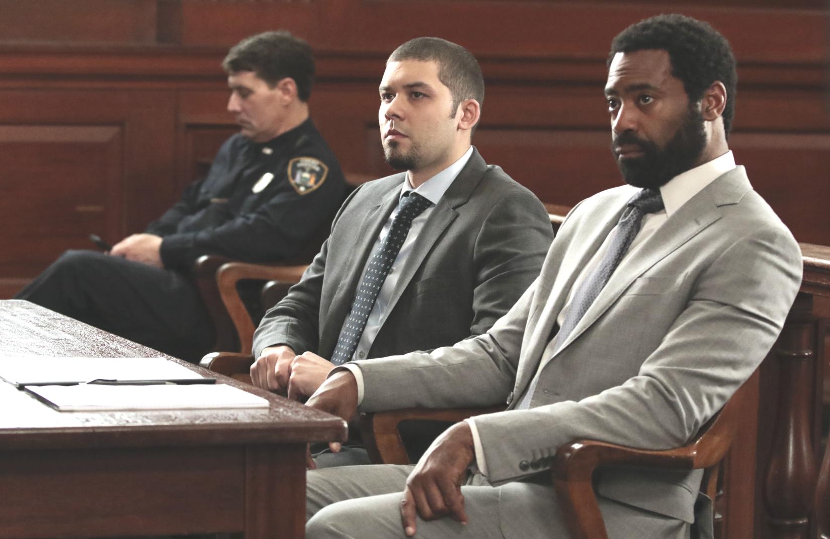 Andrew Casanova and Nicholas Pinnock in a courtroom scene from the pilot. (ABC/Giovanni Rufino)