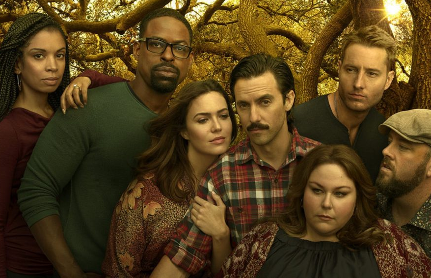 Susan Kelechi Watson, Sterling K. Brown, Mandy Moore, Milo Ventimiglia, Chrissy Metz, Justin Hartley, and Chris Sullivan in This Is Us. (NBC)