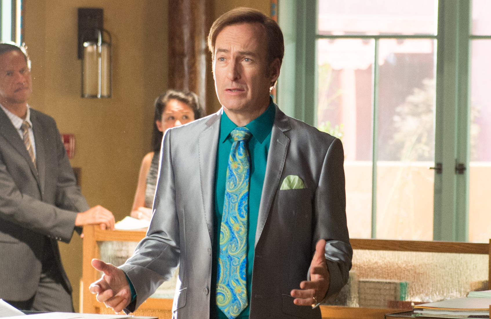 "Jimmy McGill (Bob Odenkirk) rocks a shiny suit in this image from Season 2's ""Inflatable."" (Photo: AMC)"
