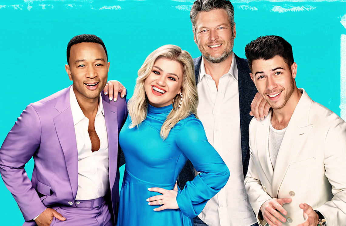 New coach Nick Jonas (right), joins John Legend, Kelly Clarkson and Blake Shelton for the Season 18 premiere of The Voice. (NBC)