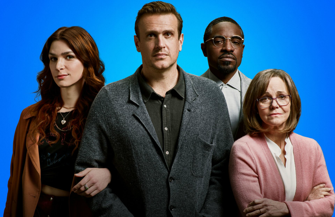 Eve Lindley, Jason Segel, André Benjamin, and Sally Field in Dispatches from Elsewhere. (AMC)