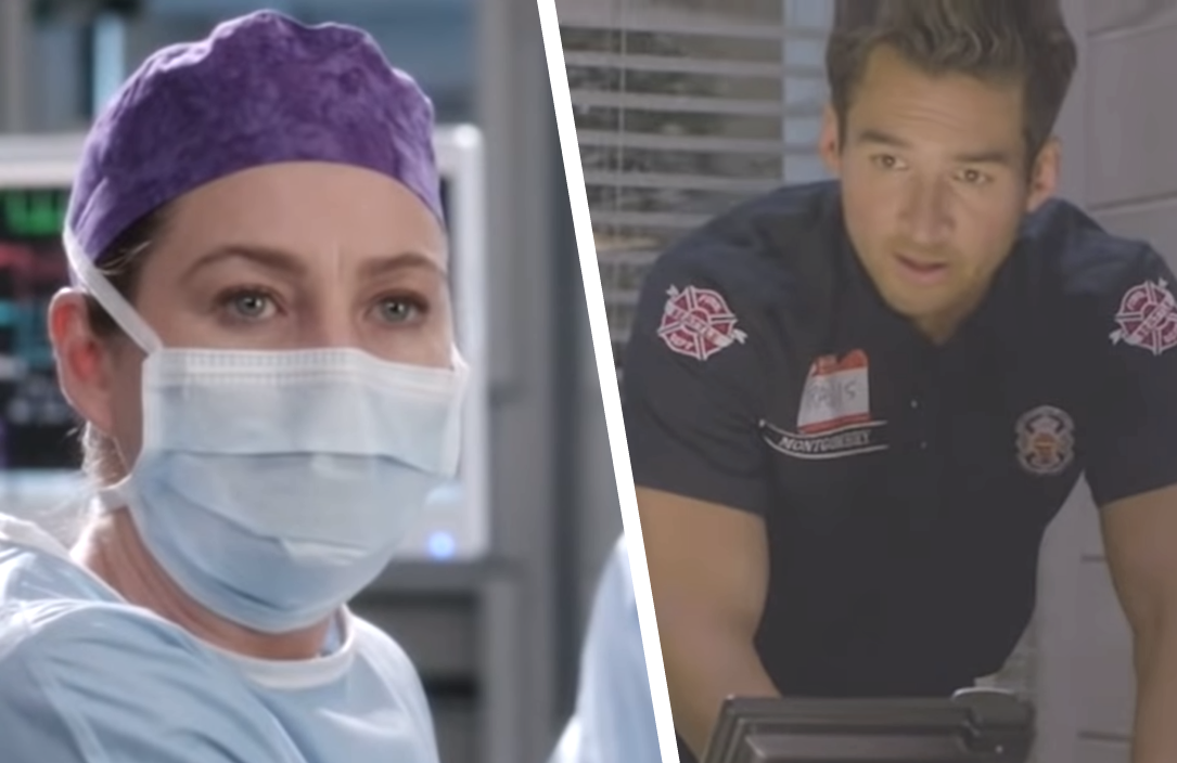 Ellen Pompeo in Grey's Anatomy and Jay Hayden in Station 19. (ABC)