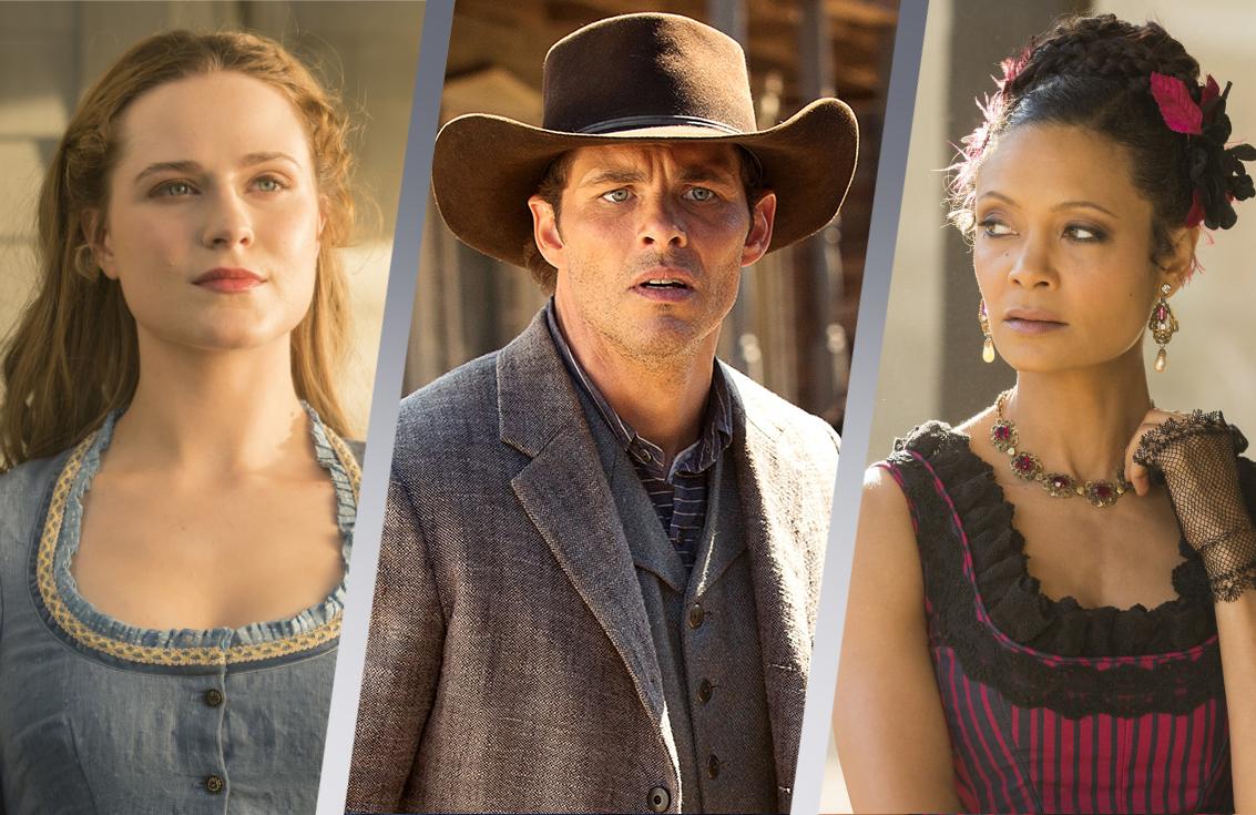 Evan Rachel Wood, James Marsden and Thandie Newton in Westworld. (Photos: HBO)