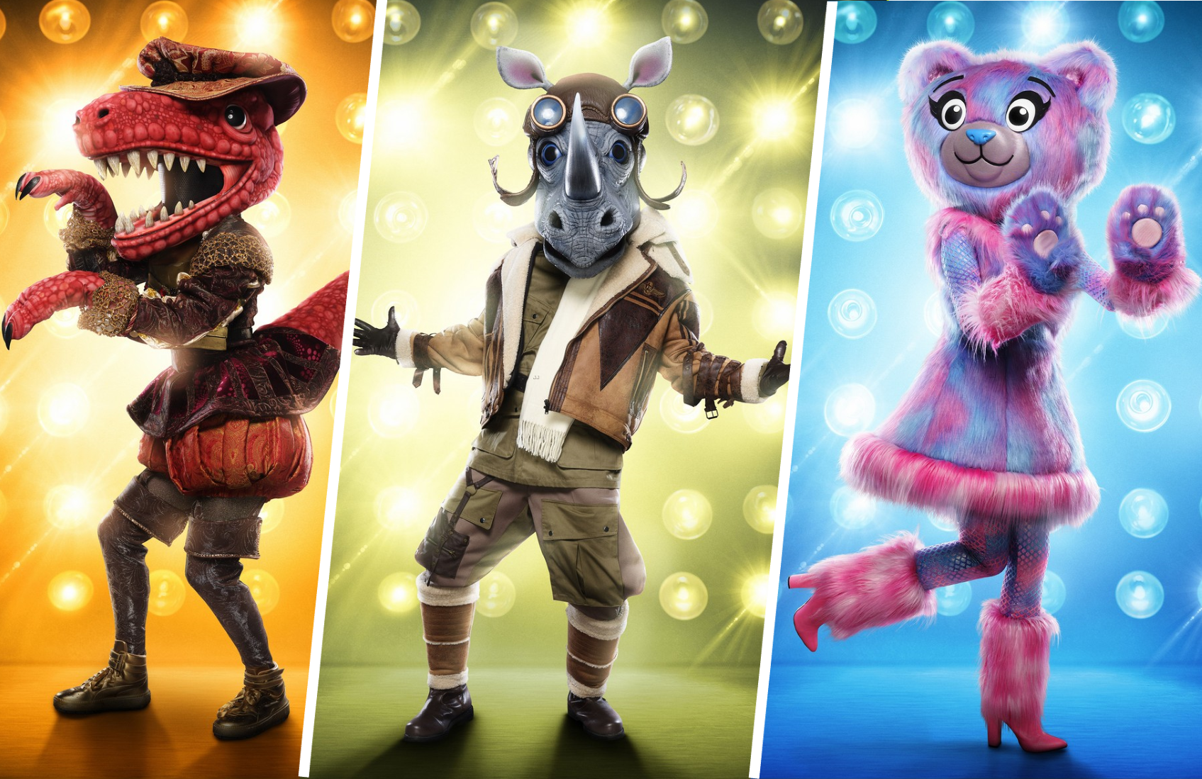 Who are those masked celebs? T-Rex, Rhino and Bear look to wow the judges on tonight's Masked Singer. (Fox)