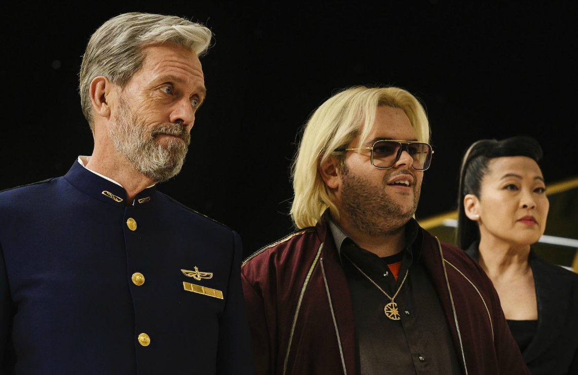 Hugh Laurie, Josh Gad, and Suzy Nakamura in Avenue 5. (Photo: HBO)