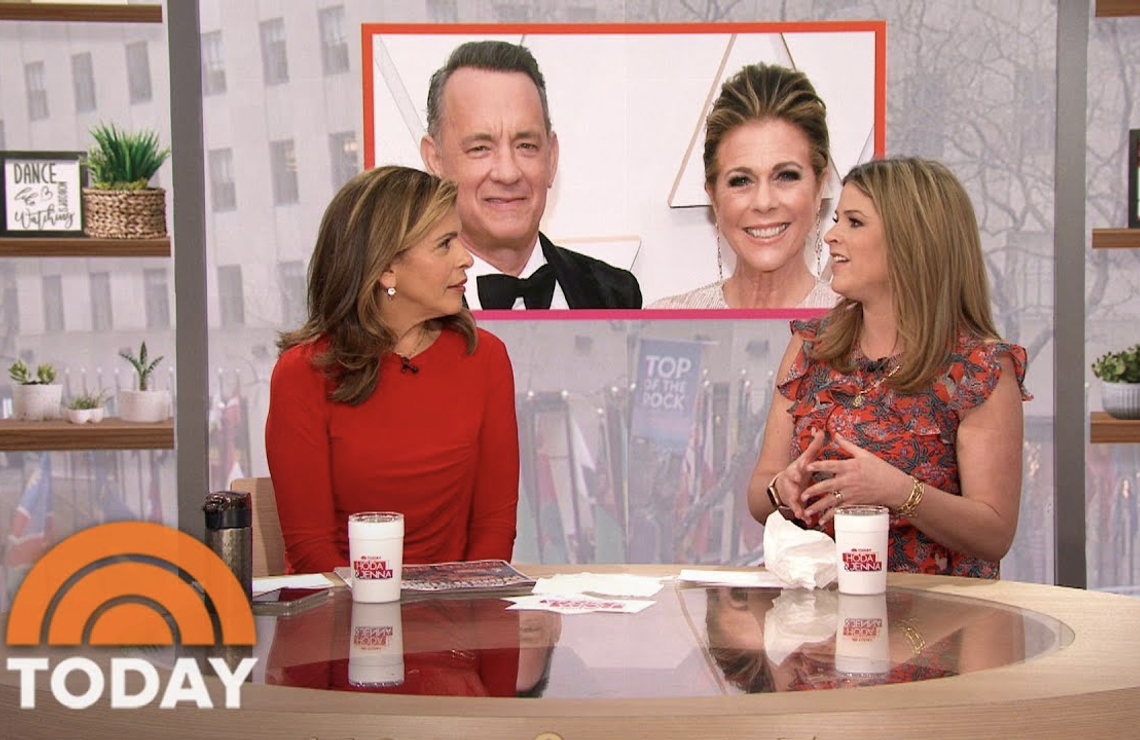 Hoda Kotb and Jenna Bush Hager discuss Tom Hanks and Rita Wilson's coronavirus diagnosis on Today. (NBC)