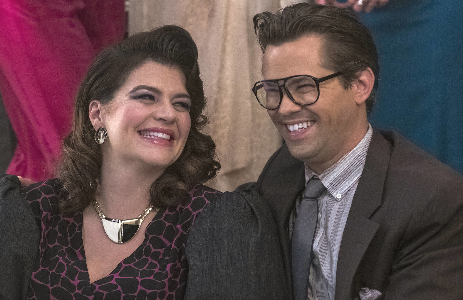 Comedy all-stars Casey Wilson and Andrew Rannels in Black Monday. (Showtime)