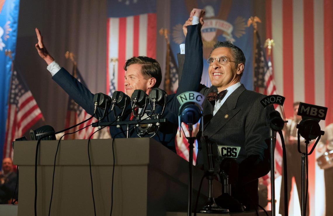 Ben Cole as Charles Lindbergh and John Turturro as Rabbi Bengelsdorf in HBO's The Plot Against America. (Photo: Michele K. Short/HBO)