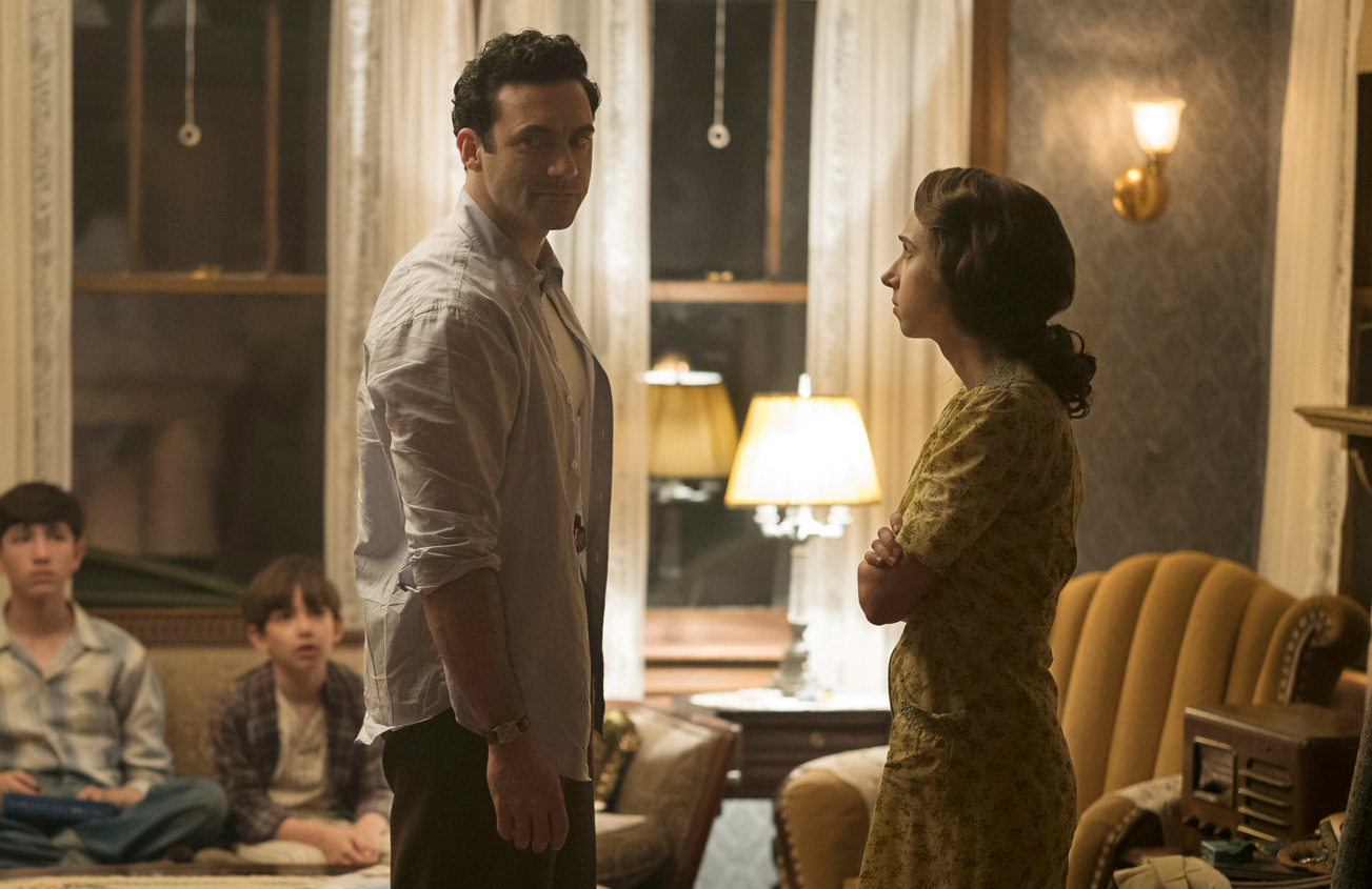 Morgan Spector as Herman Levin and Zoe Kazan as Bess Levin in The Plot Against America. (Photo: Michele K. Short/HBO)
