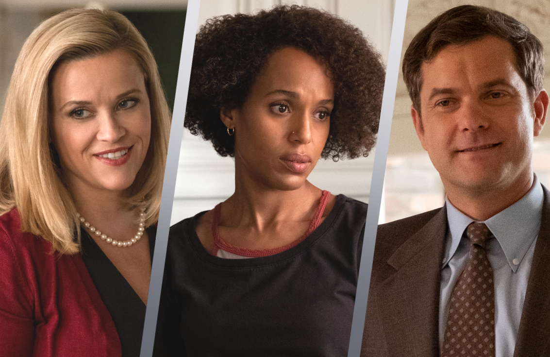 Reese Witherspoon, Kerry Washington and Joshua Jackson in Little Fires Everywhere. (Hulu)