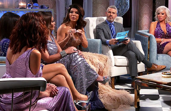 Danielle Staub, Dolores Catania, Teresa Giudice, Andy Cohen and Margaret Josephs in Real Housewives of New Jersey. (Bravo)
