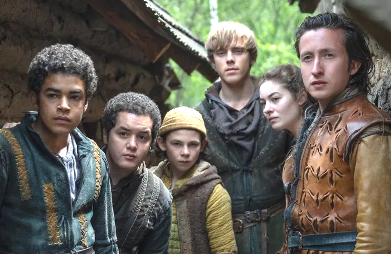Amir Wilson (far left) and the cast of The Letter for the King. (Netflix)