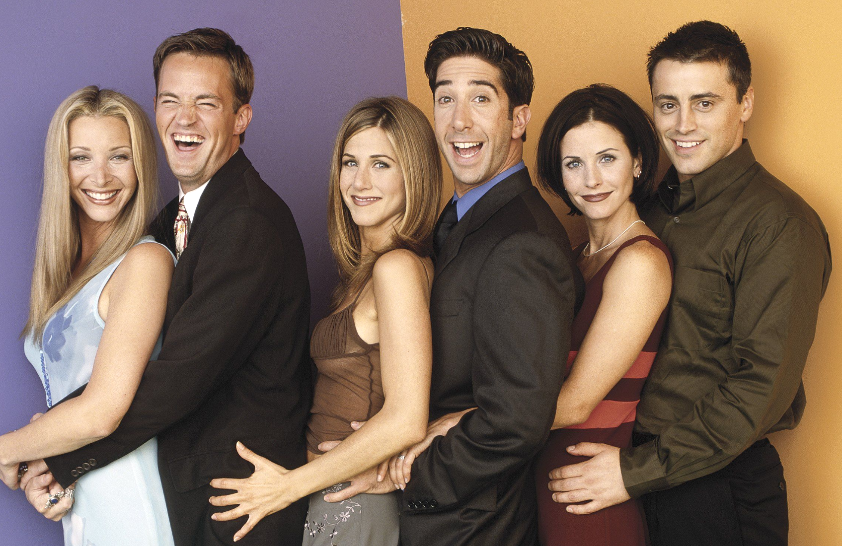 Lisa Kudrow, Matthew Perry, Jennifer Aniston, David Schwimmer, Courteney Cox and Matt LeBlanc in an early promotional photo for Friends. (NBC)