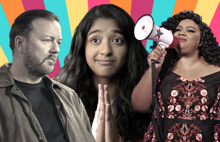 Ricky Gervais in After Life, Maitreyi Ramakrishnan in Never Have I Ever and Nicole Byer in Nailed It!. (Netflix)