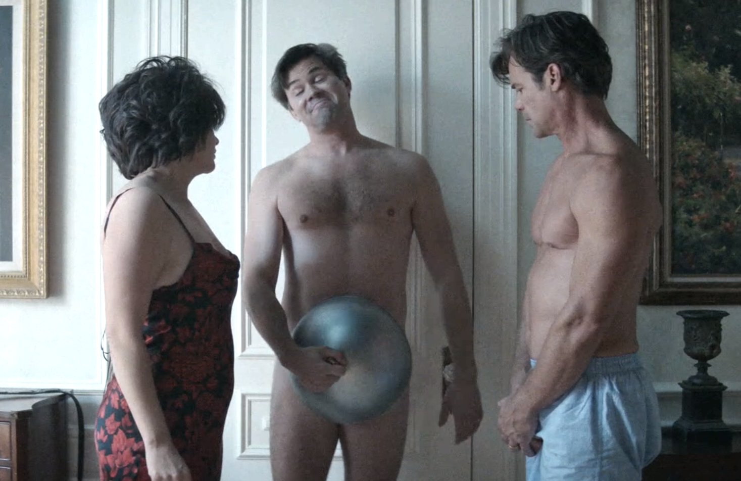 Casey Wilson, Andrew Rannells and Tuc Watkins in Black Monday (Showtime)